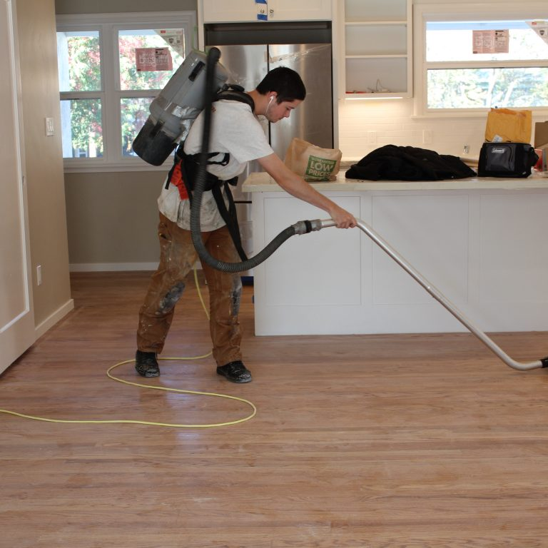 Getting the floor cleaned for finish